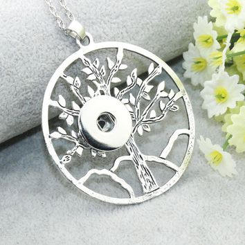 Boom Life 18mm 20mm Tree of Life Snap Button Pendant 60CM Necklace Charms Fashion Snaps Button DIY Jewelry Gift For Women 6229