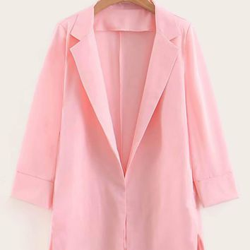 Split Side Chiffon Blazer
