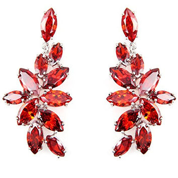 FC Chandelier Dangle Drop CZ Bridal Red Flower Swarovski Elements Crystal Earrings