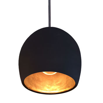 "Porcelain Ceramic Black & Brass 8"" Clay Pendant Light"