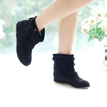Tassel Flat Ankle Boots Hidden Wedges Fall
