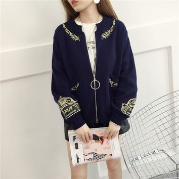 Autumn Winter Assorted Colors Embroidered Knitwear Fashion Women Cardigan Sweater All Matched Zipper Loose Coat Jacket