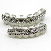 Brand New Silver Plated Iced Out GRILLZ Top Bottom Silver Set one size easy fitting Teeth Hip Hop Simulated Diamonds