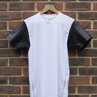 Gold Line Fashion — White Tee With Leather Sleeves & Gold Zippers
