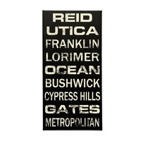 Personalized Subway Sign Canvas Art, Custom Made with Your Own Words, Black & Ivory, 12x24