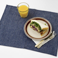 Fog Linen Work Placemat Navy Plaid