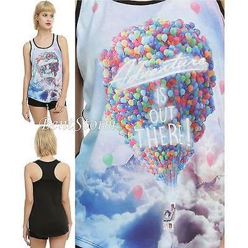 "Licensed cool Disney UP Movie ""Adventure is Out There"" House Balloons RacerBack Tank Top S-2X"