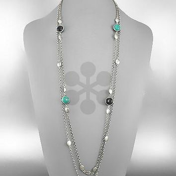 2 Rw Layer,Round Bds Stationed Long Necklace Set.