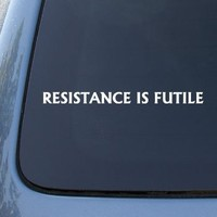 RESISTANCE IS FUTILE Borg Star Trek Decal Sticker #1636 | Vinyl Color: White
