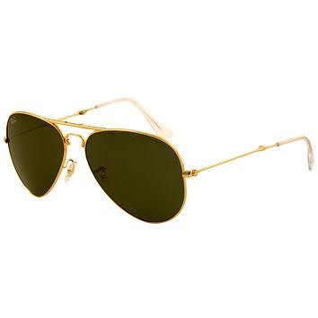 Ray-Ban RB 3479 001 58 Unisex Folding Aviator Arista Golden Metal Frame Crystal Green