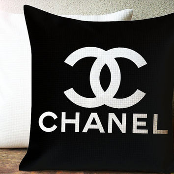 Chanel Black Design Decorative Pillow Case Size 18 x 18 Inches One Side or Two Side