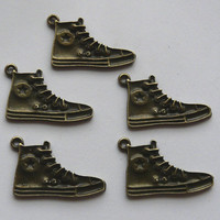 5 Antique Bronze Baseball Boot Charms Pendants