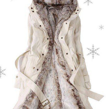 Beige Long Sleeves Thermal Faux Fur Parka Coat