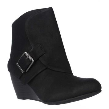 AR35 Coreene Cuffed Wedge Ankle Booties, Black, 9 US