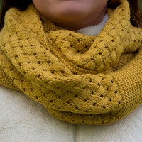 Women accesories, Infinity Knit Scarf,Mustard Knit Scarf,Women Knit Scarf,Knit Fall Scarf,Infinity knit scarf, Womens Infinity Knit Scarves