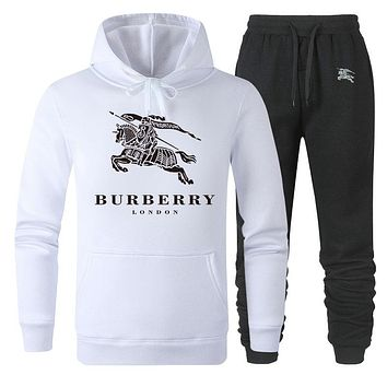 Burberry Autumn And Winter New Fashion Letter War Horse Print Women Men Sports Leisure Hooded Long Sleeve Top And Pants Two Piece Suit White
