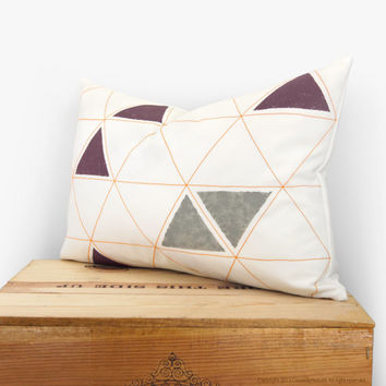 Geometric pillow cover - Hand printed pillow - Minimalist - Tangerine, grey, plum and white triangles pattern - 12x18 lumbar pillow case