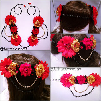 Red Beauty Blossom Crown, Flower Halo, Flower crown, Flower headband, Festival, Hippie Headband, Coachella, Rave, Bridal