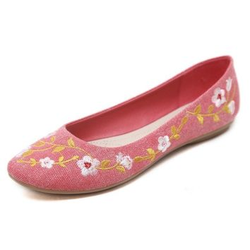 Women Casual Flat Heels Shoes Woman Fashion Slip On Embroidery Flowers Peas Boat Shoes Soft Lazy Loafers