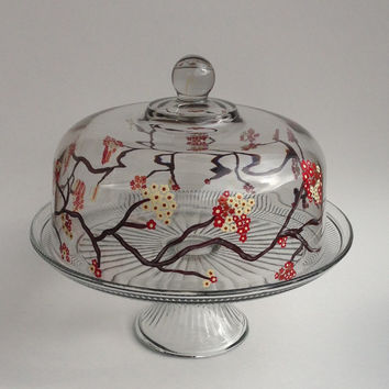 Cake Stand Punch Bowl with Hand Paonted Dome Cherry Blossoms