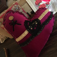 Vintage purple velvet heart Valentines Day pillow/ valentine's Day decorations/ velvet heart pillow