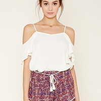 Belted Abstract Print Shorts   Forever 21 - 2000205407
