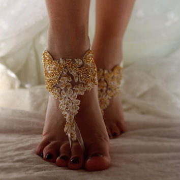 İvory Lace Barefoot Sandals, Gold Bead, Bridal Lace Shoes , Foot jewelry,Wedding Shoes, Victorian Lace Anklet , Belly Danc