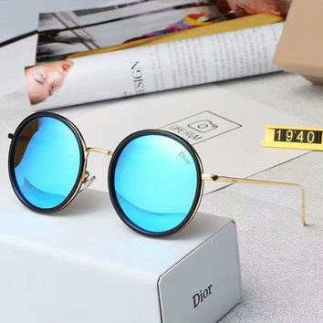 Chanel Fashion Women Men Chic Round Sun Shades Eyeglasses Glasses Sunglasses Blue Black Frame I-A-SDYJ