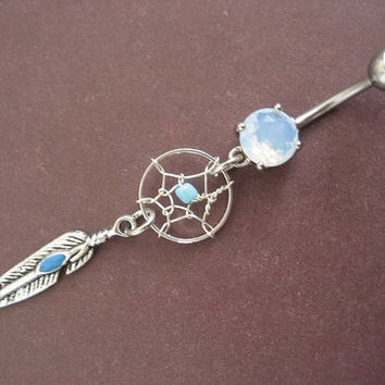 Turquoise Dream Catcher Belly Button Ring Jewelry by Azeetadesigns