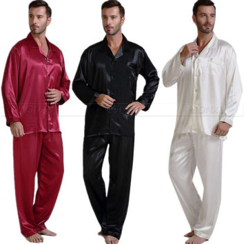 Mens Silk Satin Pajamas Set  Pajama Pyjamas Set  PJS  Set  Sleepwear  Loungewear  Perfect  Gifts