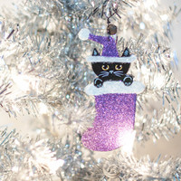 Stocking Christmas Cat Clay Folk Art Ornament
