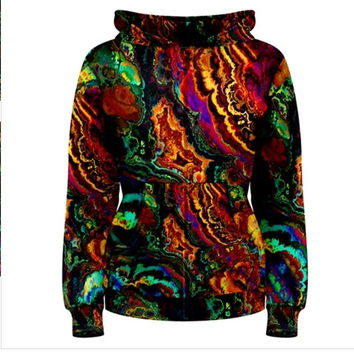 Wearable Art, custom made, exclusive uniques design colorful print all over Women's Zipper Hoodie Sweatshirt, abstract paint top + PLUS SIZE
