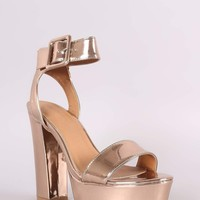 Qupid Metallic Open Toe Chunky Platform Heel