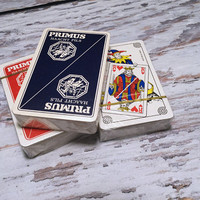 Three Vintage Decks of Cards . Sealed Playing Cards . Primus Haacht Pils Advertisment Cards . Complete Deck .