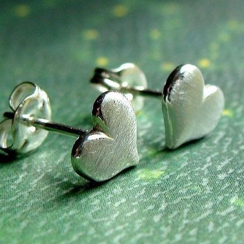 Brushed Heart Stud Post Sterling Silver Earrings Valentine Jewelry Gift