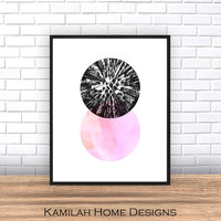 Circle Print, Geometric Wall Art, Printable Art, Black and Pink Art, Geometric Art, Minimalist Wall Decor, Abstract Art Print, Scandinavian