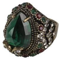 Pear Shape Green Emerald Gemstone Diamond Ruby Gemstone Accent Vintage Filigree Antique Hurrem Sultan Adjustable Ring:Amazon:Jewelry