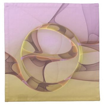 Abstract Motions, Modern Light Pink Yellow Fractal Cloth Napkin