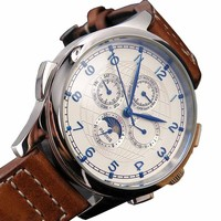 44mm Fanmis White Dial Blue Mark Automaitc Chronometer Moon Phase Multi-funtion Wrist Watch
