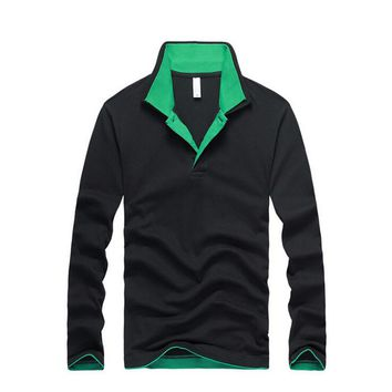 Men Polo Shirt Brands Clothing Long Sleeve Slim Fit Solid Polo Shirt Camisa Polo Mascu