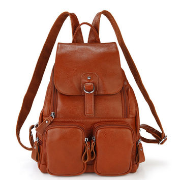 Preppy style fashion women school backpack made by genuine leather travel  shoulder bags for women cowhide female bag