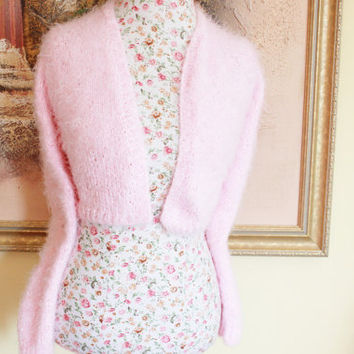 Ready to ship Today - Super Fluffy PINK Angora look knit v-neck No button LONG sleeves crop bridal bolero, XS to S Size
