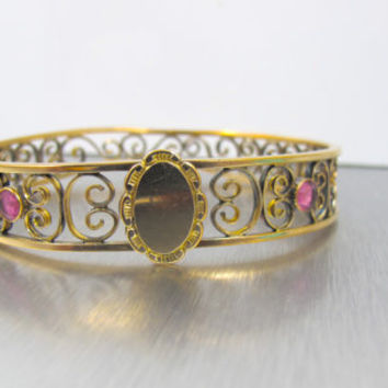 30% Off Victorian Gold Filled Cuff Bracelet, Ruby Spinel Signet Large Bangle Bracelet, Antique Jewelry, Victorian Jewelry