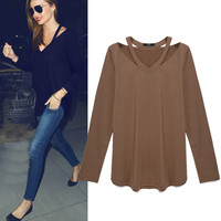Plain Loose V-Neck Long Sleeve Shirt