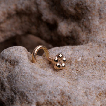 Unique 14k SOLID yellow gold NOSE STUD by BensJewelryCreations