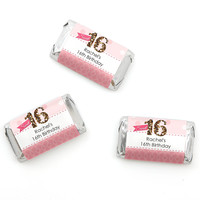 Sweet 16 - Personalized Birthday Party Mini Candy Bar Wrapper Favors - 20 ct