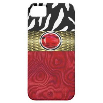 Zebra and Burl Wood with Jewel Accent (red/gold) iPhone 5 Cases from Zazzle.com