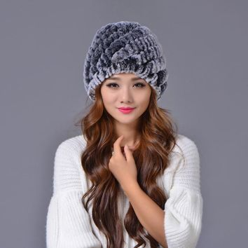 Lady Winter Fur Hat Natural Real Rex Rabbit Fur Cap Thick Warm Soft Knitted Skullies Snow Hat Genuine Fluffy Fashion Bomber Caps