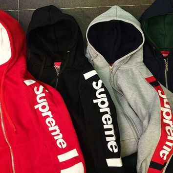 Supreme Splicing And hooded hoodie Zipper Coat