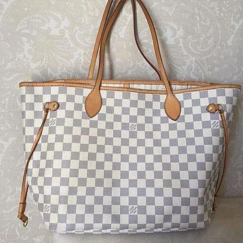 LV Tide brand shopping bag classic old flower portable large capacity mother bag two-piece white check